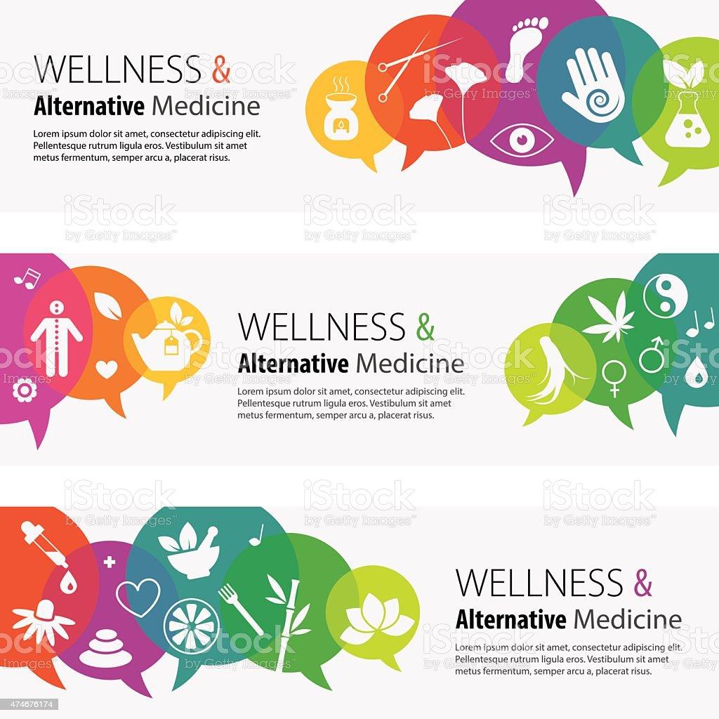 Alternative Medicine Banners And Icon Set vector art illustration