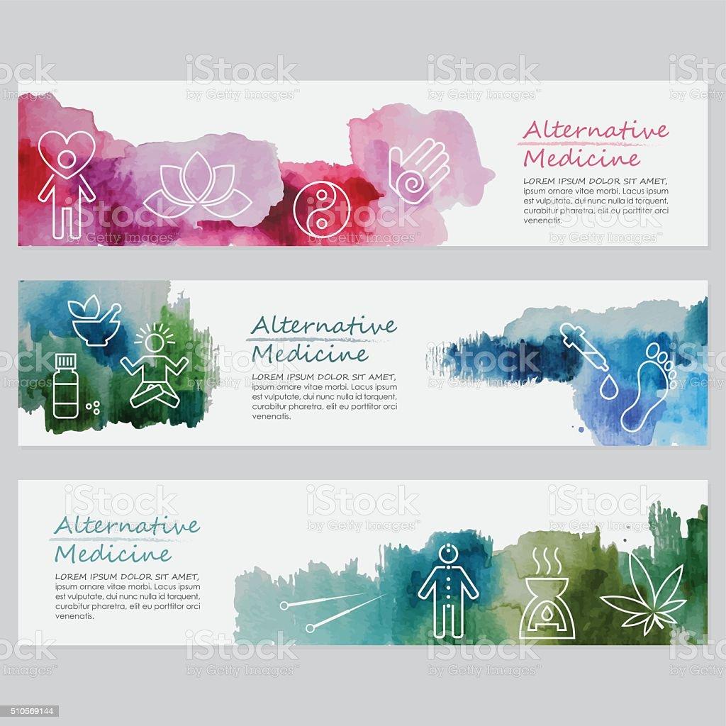 Alternative Medicine Banners Including Line Icons Set vector art illustration