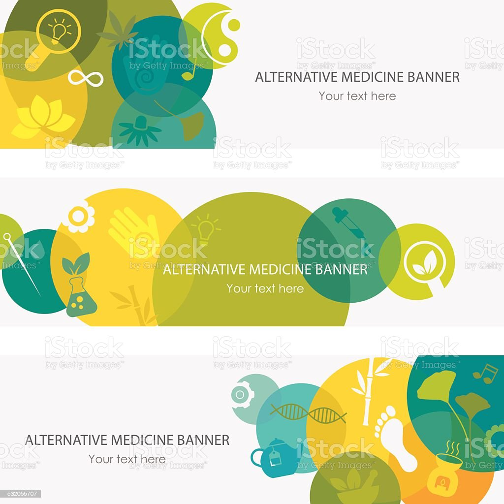 Alternative Medicine Banners vector art illustration