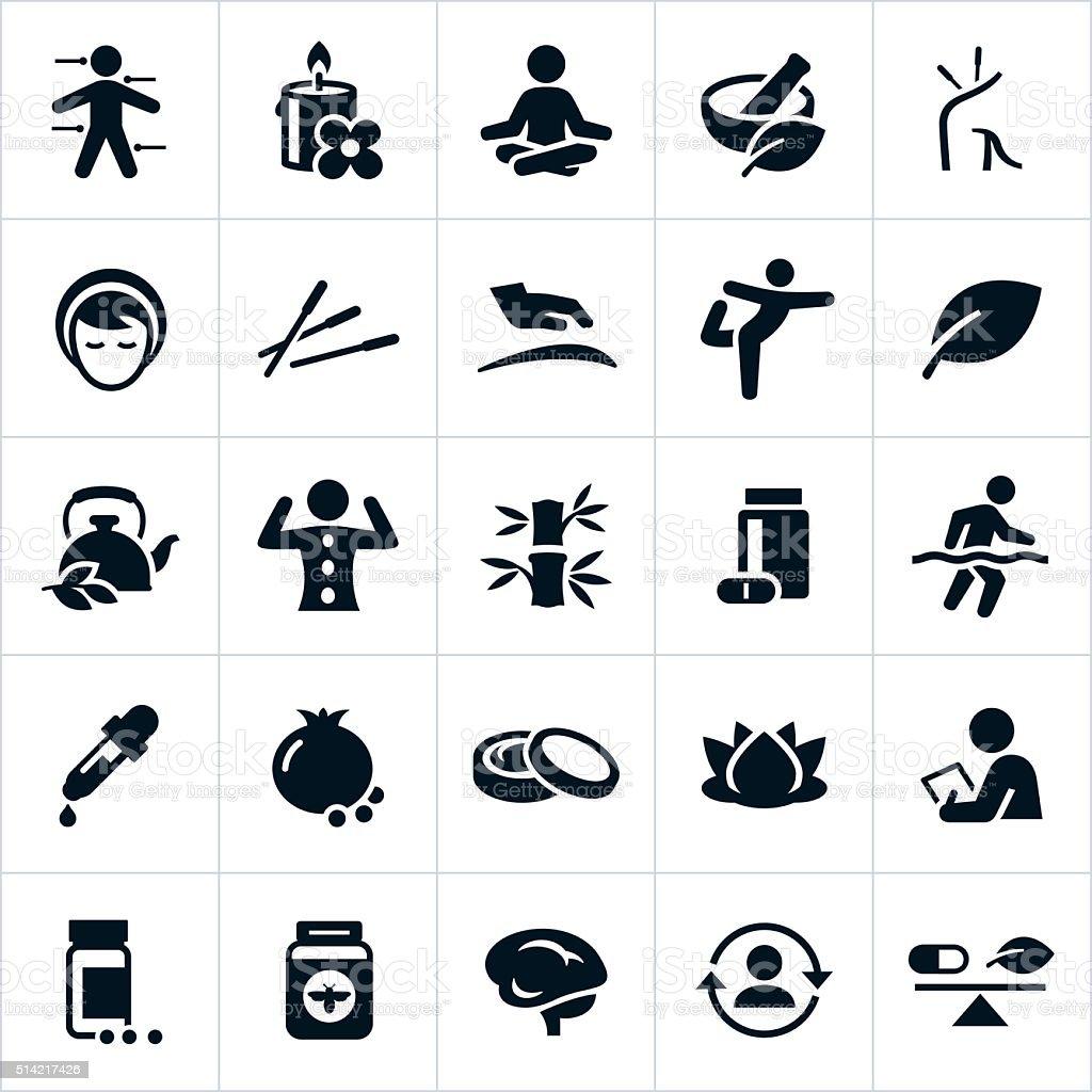 Alternative Medicine Icons vector art illustration