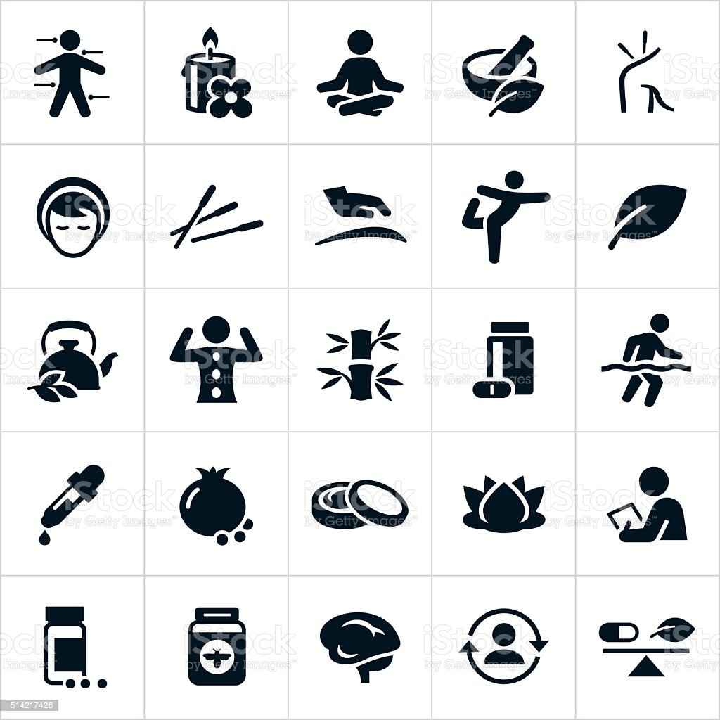 Alternative Medicine Icons vector art illustration