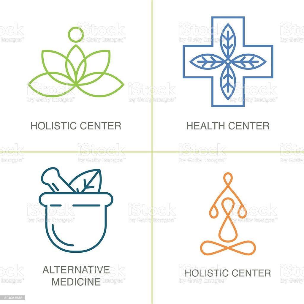 Alternative Medicine logos. vector art illustration