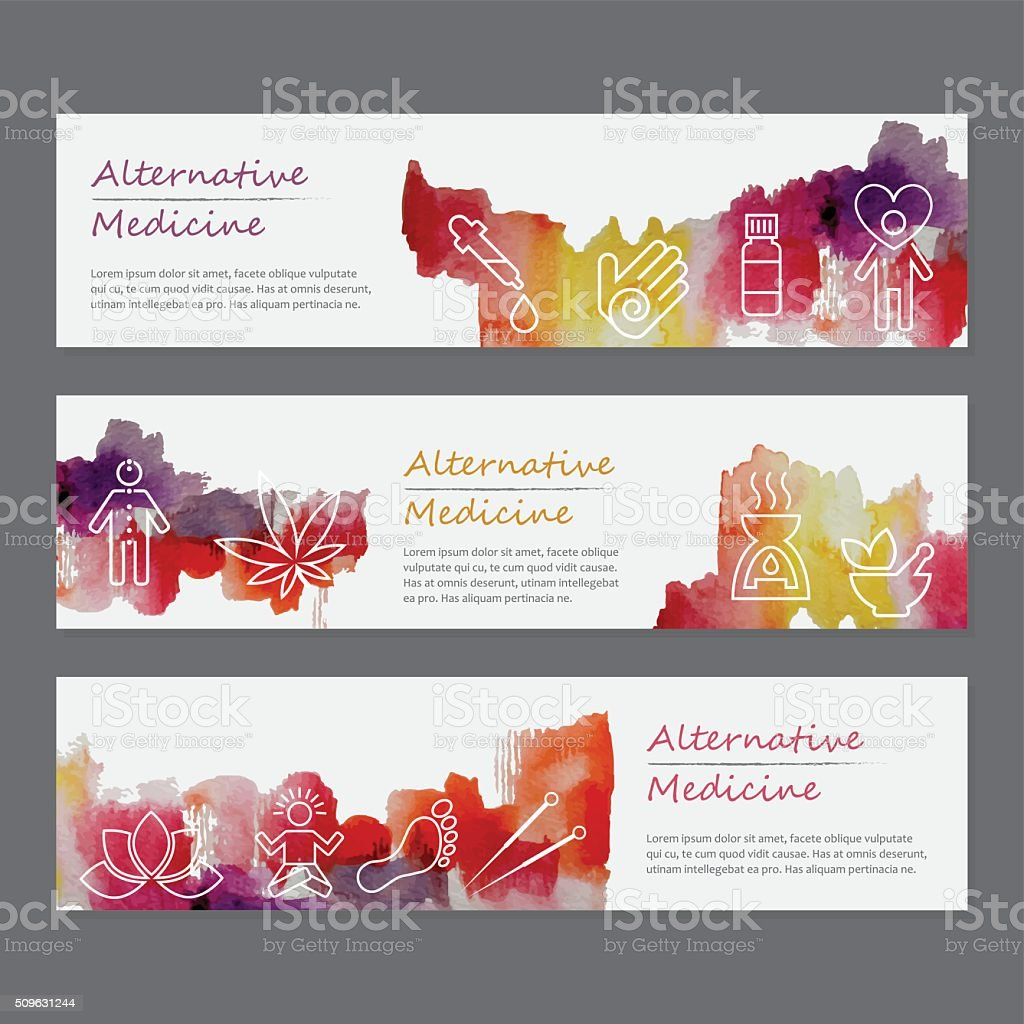 Alternative Medicine Watercolor Banners Set vector art illustration
