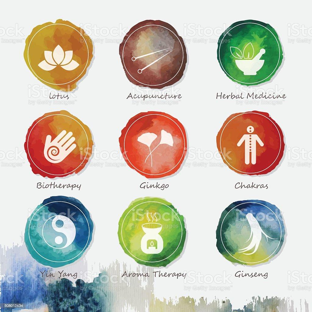 Alternative Medicine Watercolor Icons Set vector art illustration