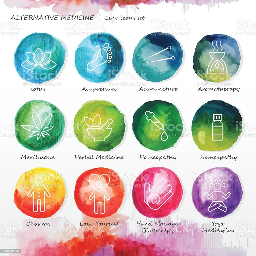 Alternative Medicine Watercolor Line Icons Set vector art illustration