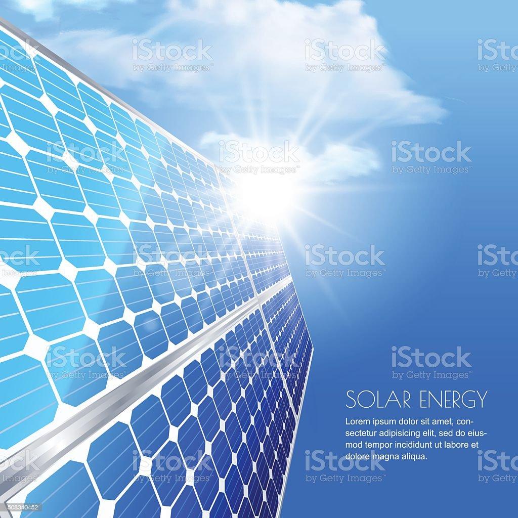 Alternative renewable solar energy and environmental concept. vector art illustration