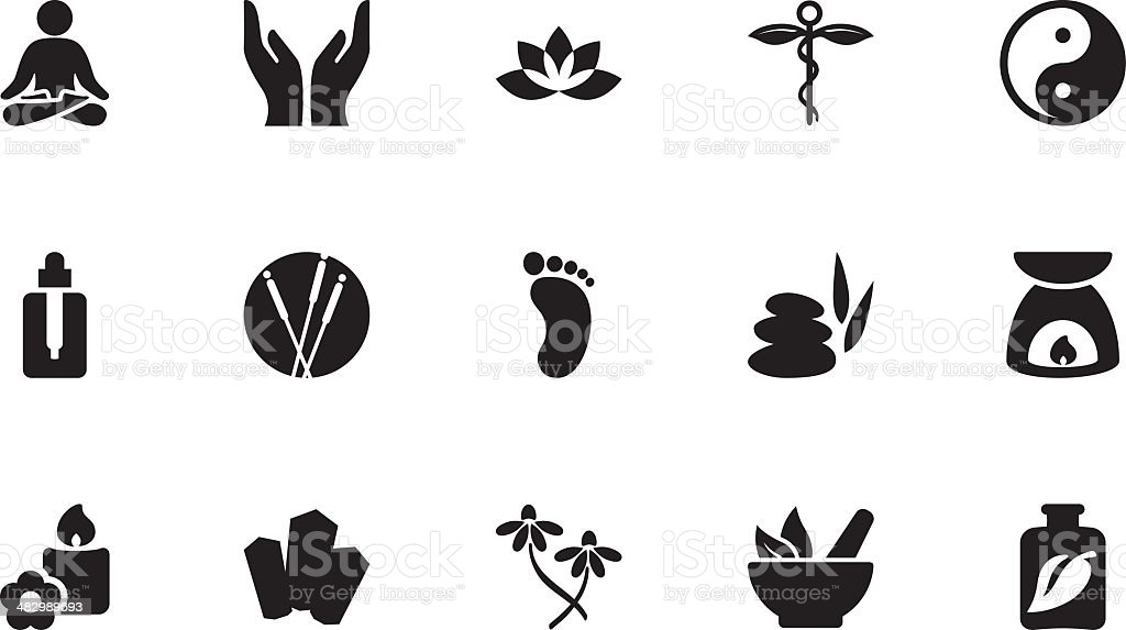 Alternative therapy icons . Simple black vector art illustration