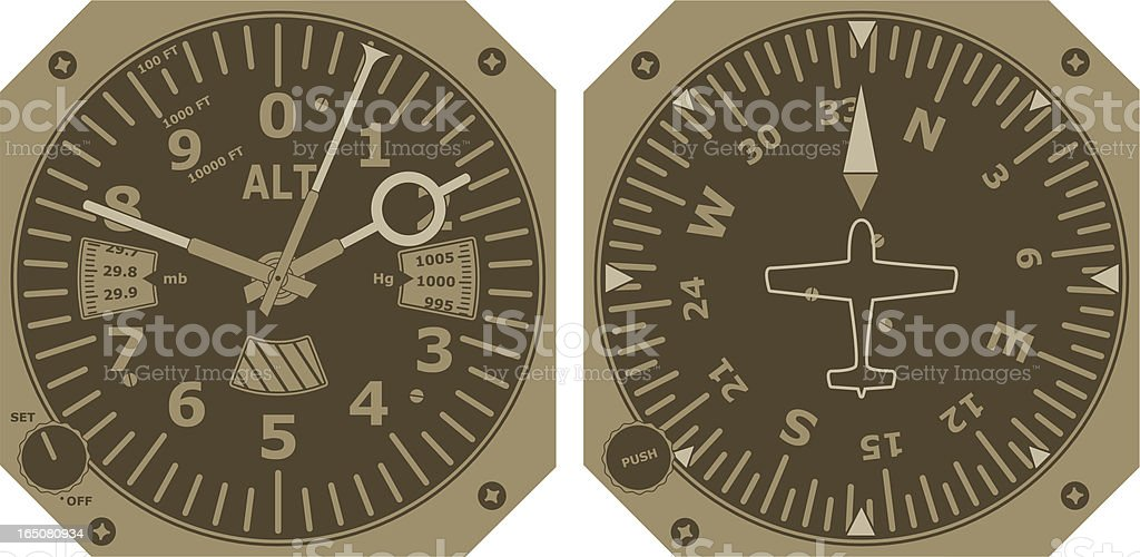 Altimeter and Compass royalty-free stock vector art
