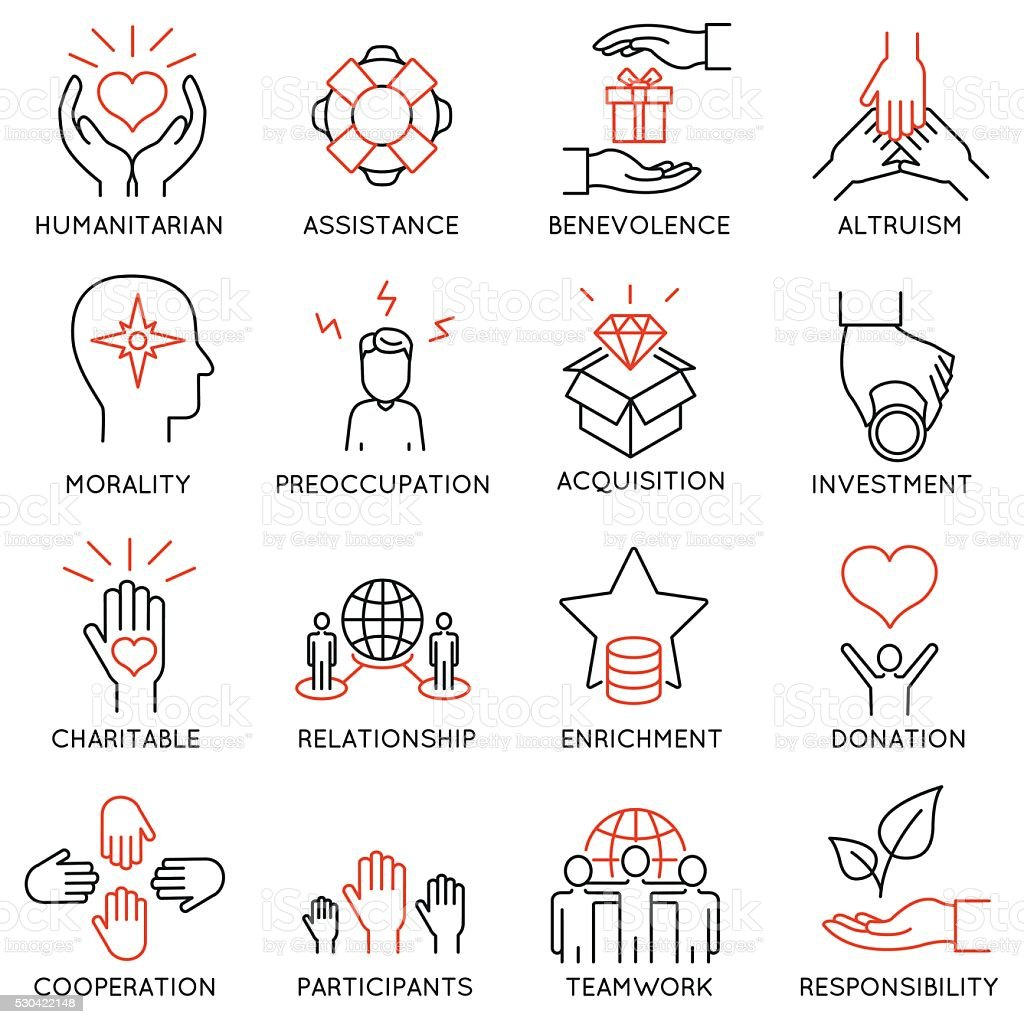 Altruism, Benevolence Icons - part 1 vector art illustration