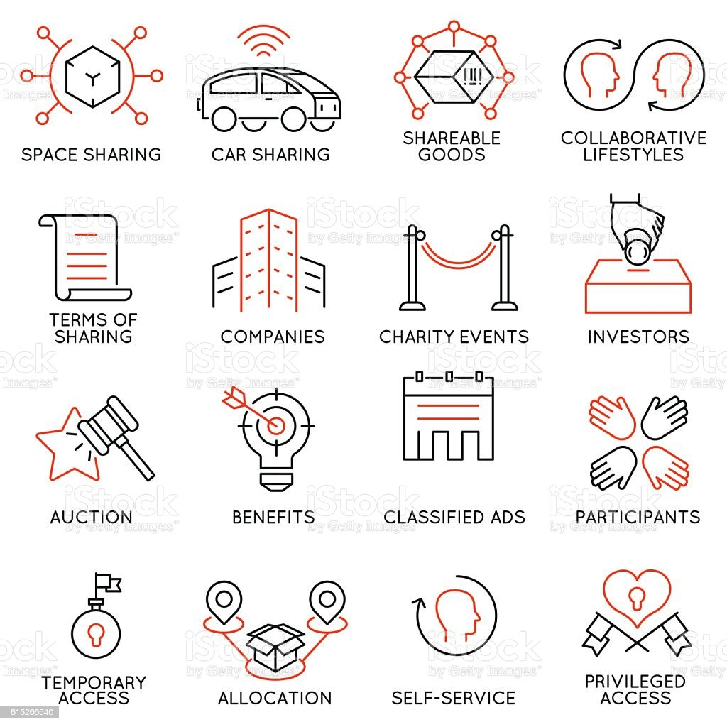 Altruism, cooperation, collaborative consumption and volunteering icons - part 2 vector art illustration