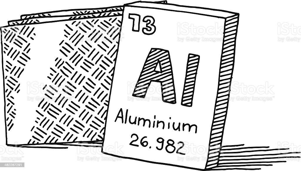 Aluminium Chemical Element Drawing vector art illustration
