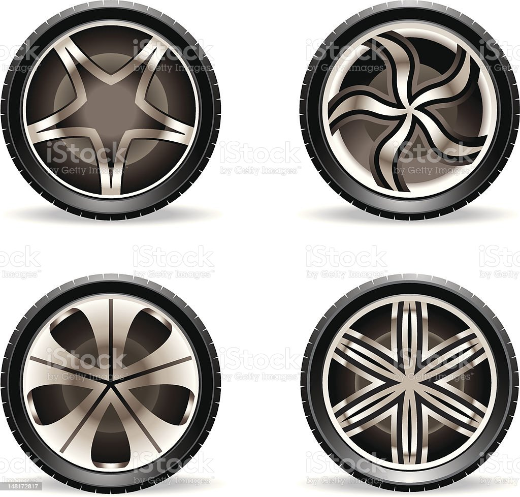 Aluminium rims set royalty-free stock vector art