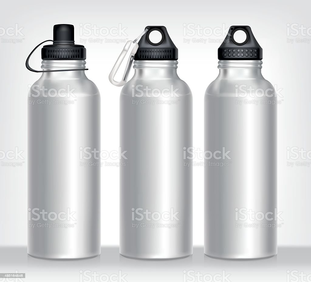 Aluminum bottle water isolated white background vector art illustration