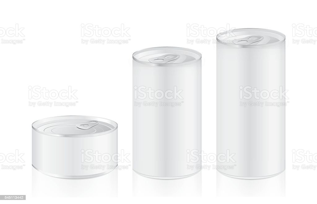 Aluminum can mock up in difference size vector art illustration