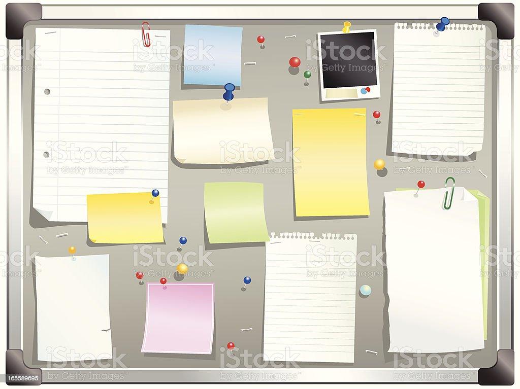Aluminum framed gray bulletin board royalty-free stock vector art