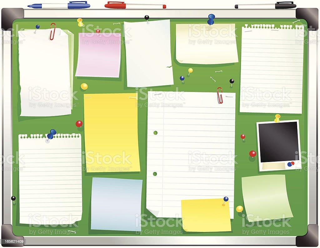 Aluminum framed green bulletin board royalty-free stock vector art