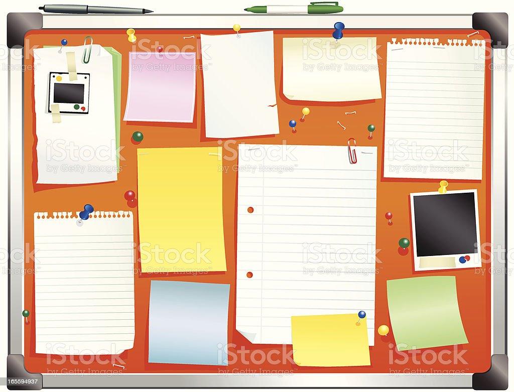 Aluminum framed orange bulletin board royalty-free stock vector art