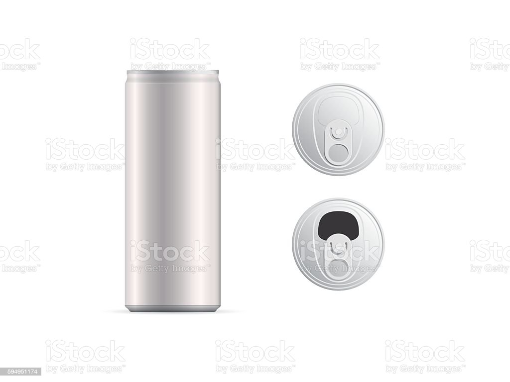 Aluminum thin cans and top view, isolated vector art illustration
