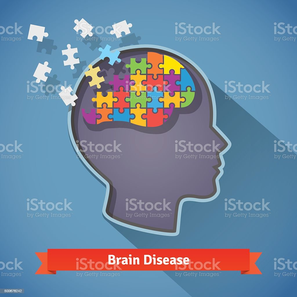 Alzheimer brain disease, mental problems concept vector art illustration
