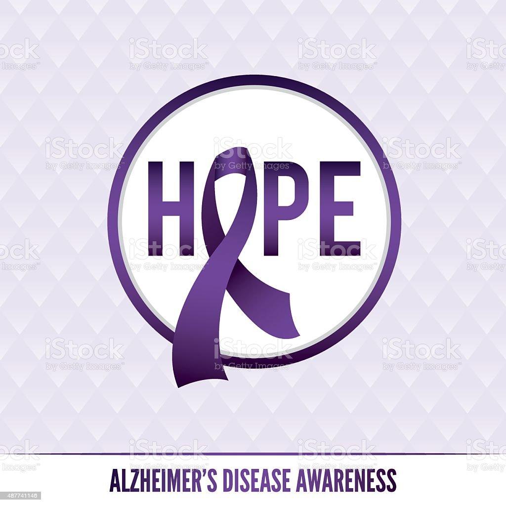 Alzheimer's Disease Awareness Badges and Ribbon vector art illustration