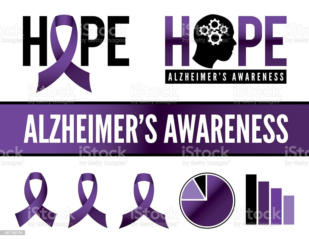 Alzheimer's Disease Awareness Icons and Graphics vector art illustration