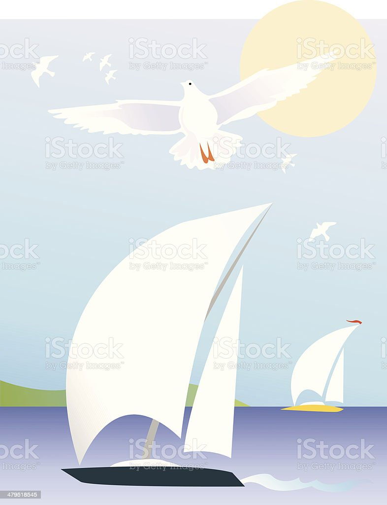 I am sailing vector art illustration