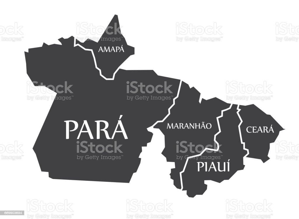 Amapa - Para - Maranhao - Piaui - Ceara Map Brazil illustration vector art illustration