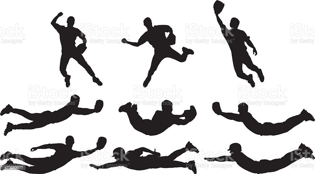 Amazing catches baseball players vector art illustration
