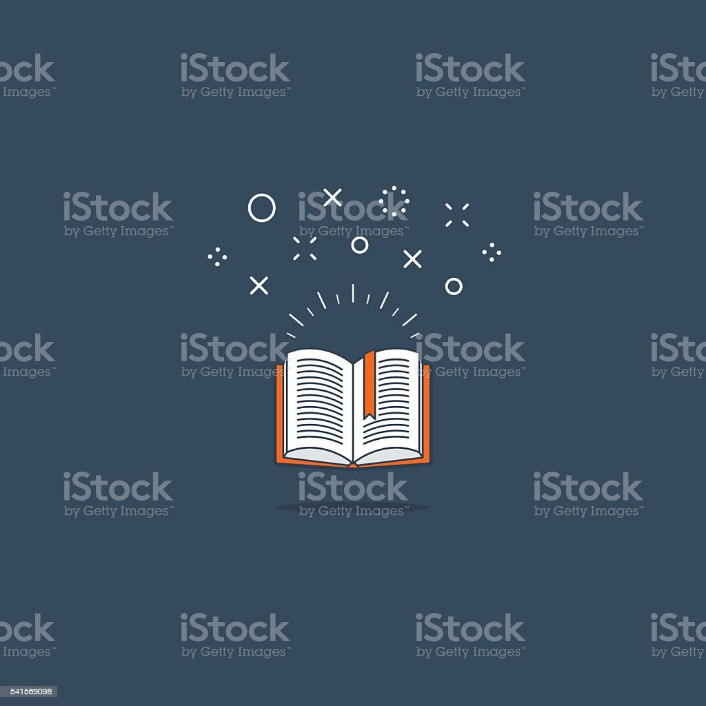 Amazing opened book. Library concept. Reading fun time. Creative writing vector art illustration
