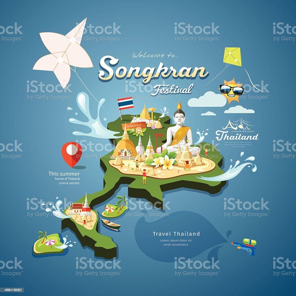 Amazing Songkran Festival in Thailand vector art illustration
