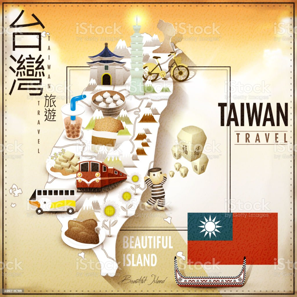 amazing Taiwan attractions map vector art illustration
