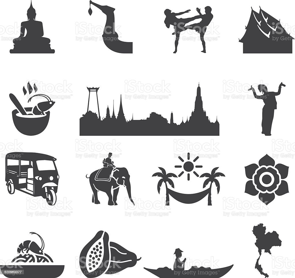 Amazing Thailand Silhouette icons | EPS10 vector art illustration
