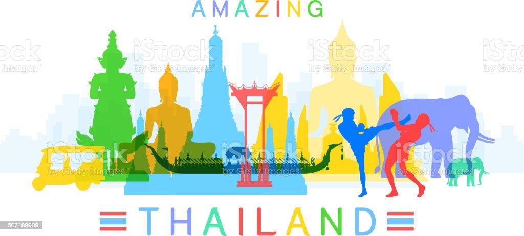 Amazing Thailand vector art illustration
