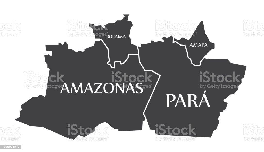 Amazonas - Para - Roraima - Amapa Map Brazil illustration vector art illustration