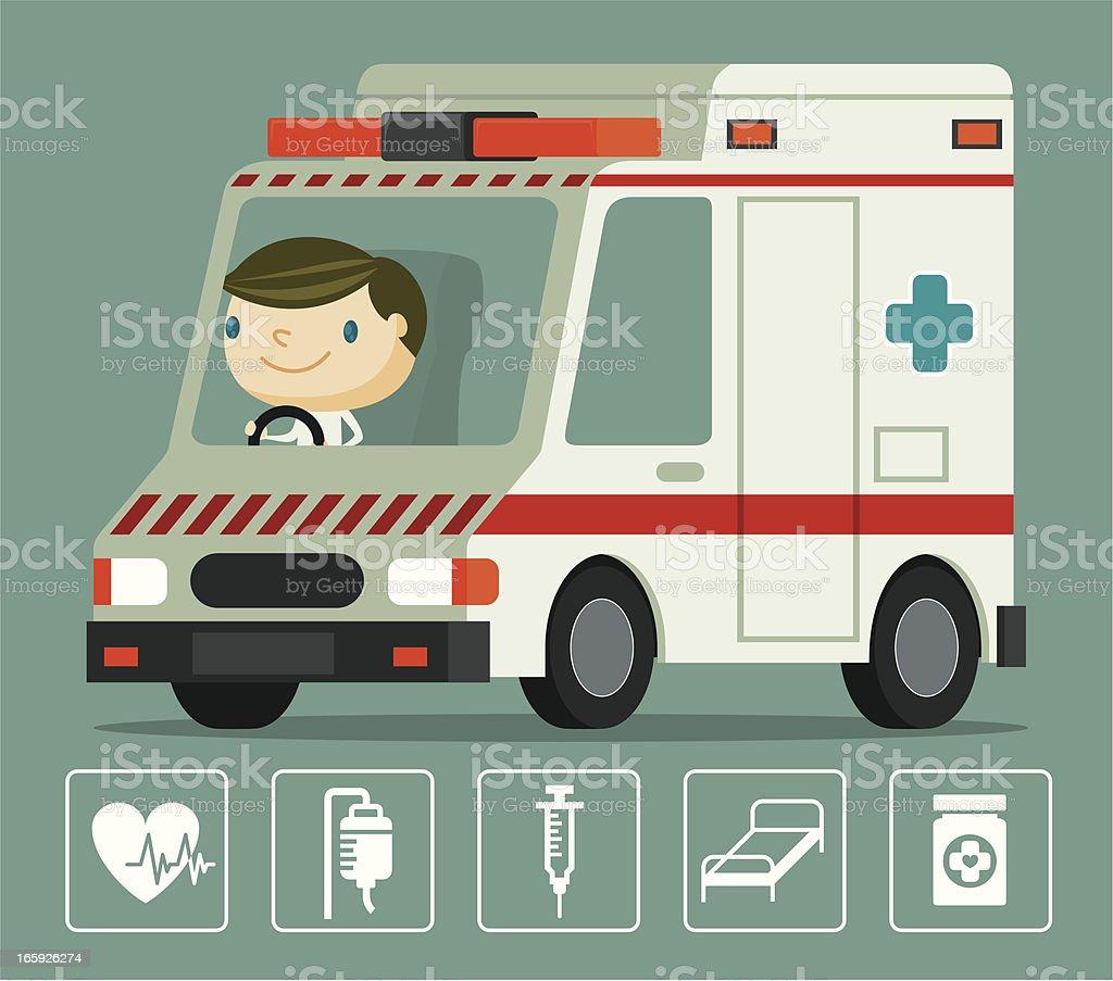 Ambulance and Driver royalty-free stock vector art