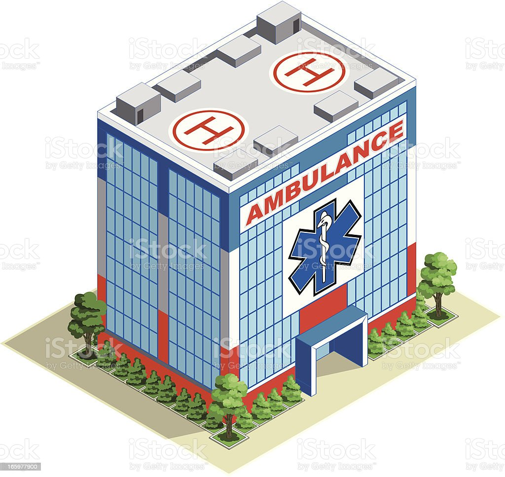 Ambulance building isometric Hospital royalty-free stock vector art