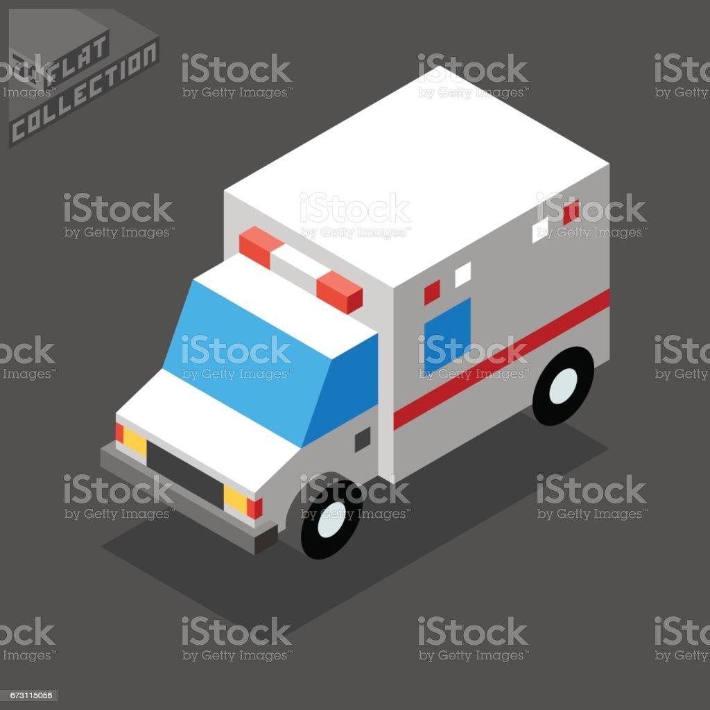 Ambulance Car Icon. 3D Isometric Low Poly Flat Design. vector art illustration