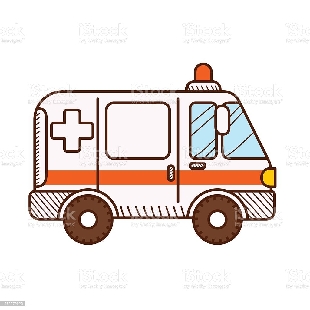 Ambulance car isolated on white background. Vector illustration vector art illustration