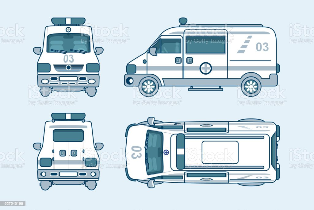 ambulance car top, front, side, back view line style vector art illustration