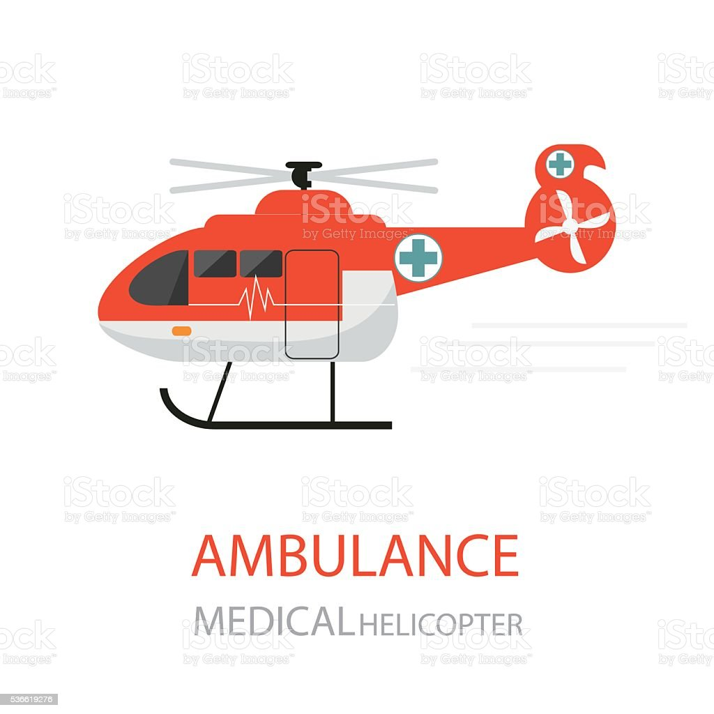 Ambulance helicopter emergency medical service. vector art illustration