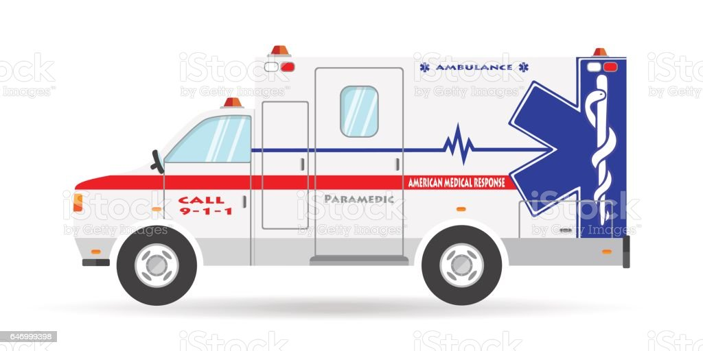 ambulance paramedic car emergency auto icon vector art illustration