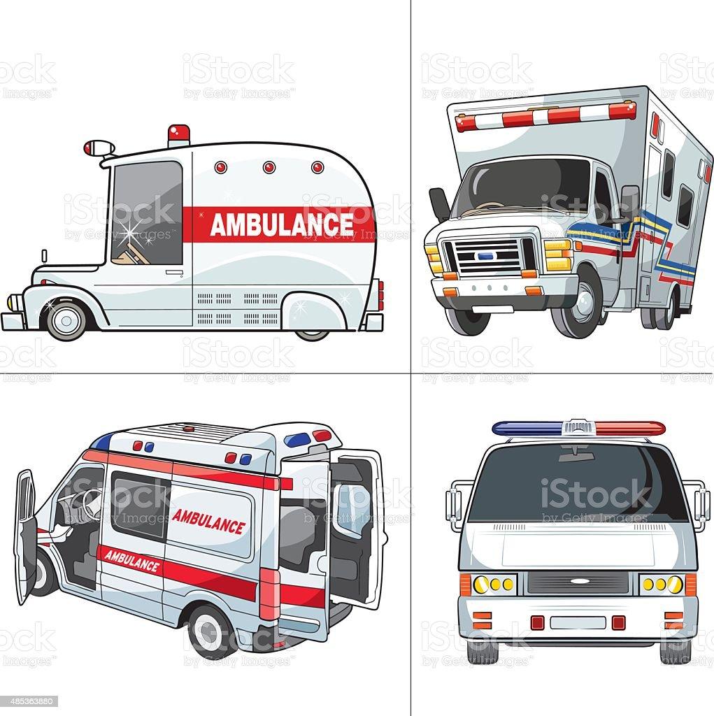 ambulance set vector art illustration