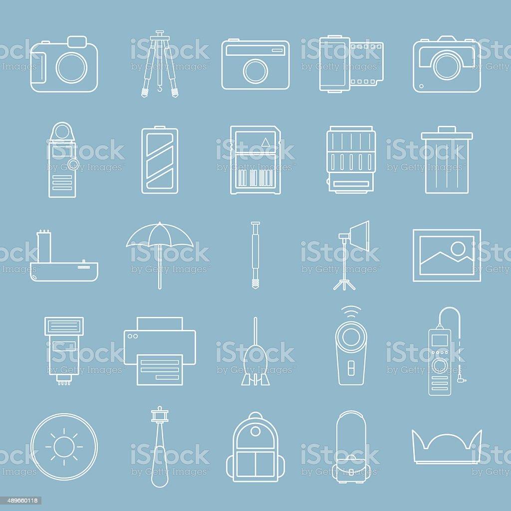 amera and accessories line icon set vector art illustration