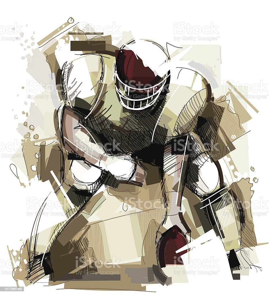 Amercian Football vector art illustration