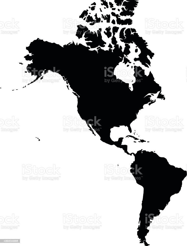 America black map on white background vector vector art illustration