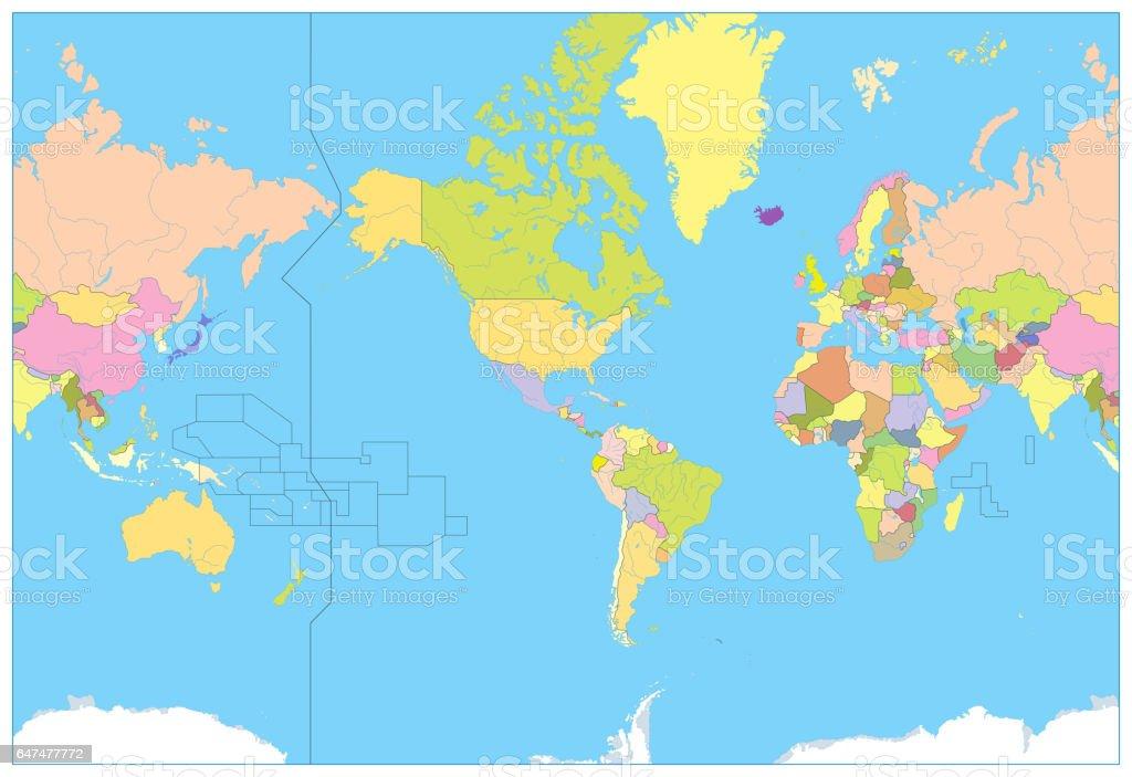 America Centered Political World Map. No text vector art illustration