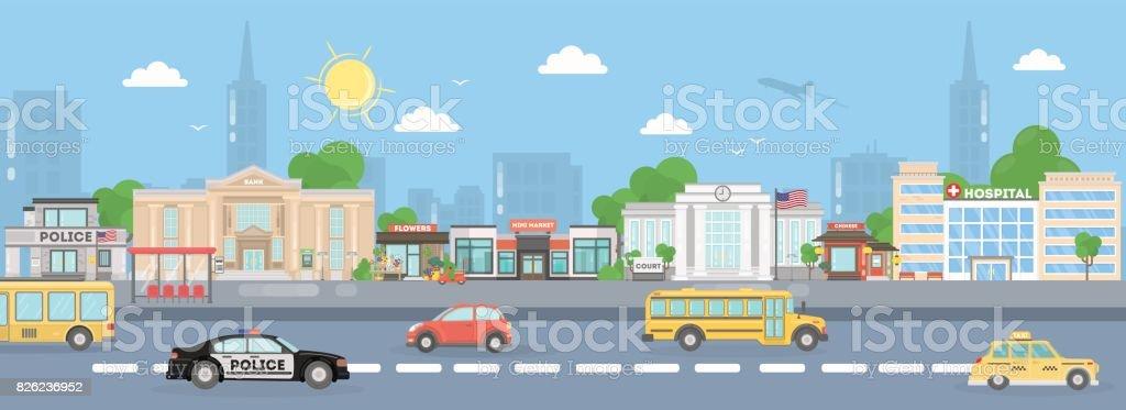 America city street. vector art illustration