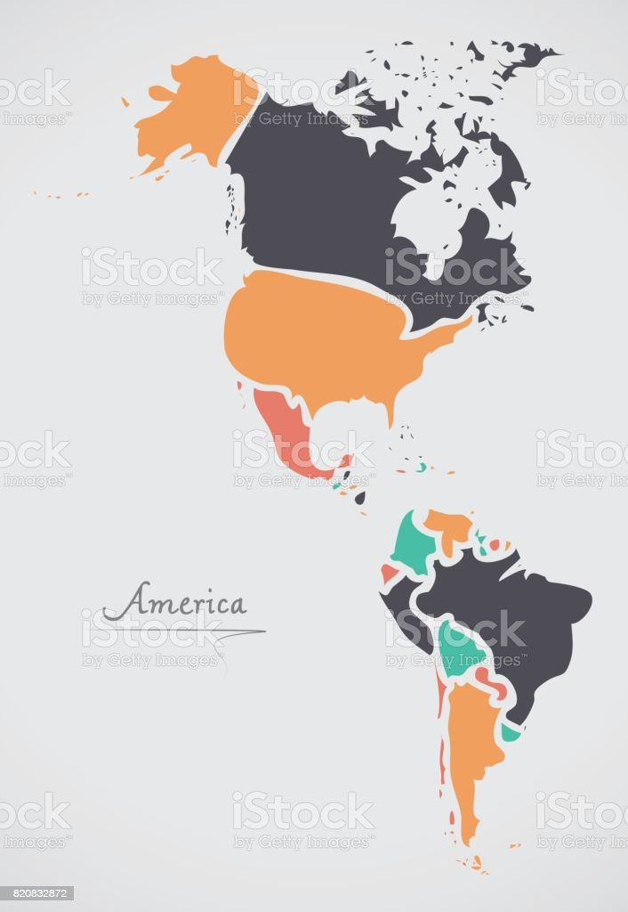 America Continent Map with states and modern round shapes vector art illustration
