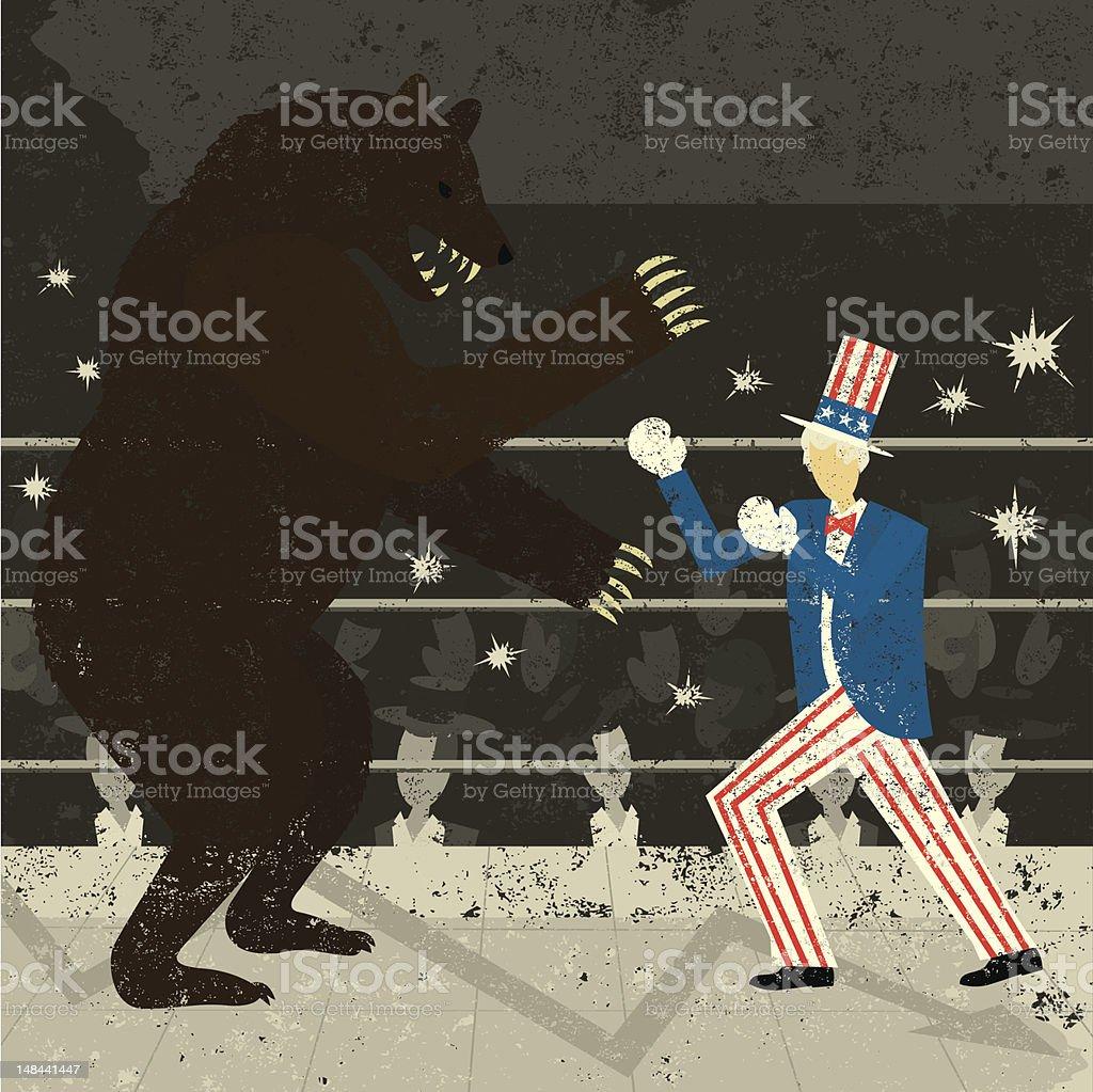 America Fighting a Bear Market royalty-free stock vector art