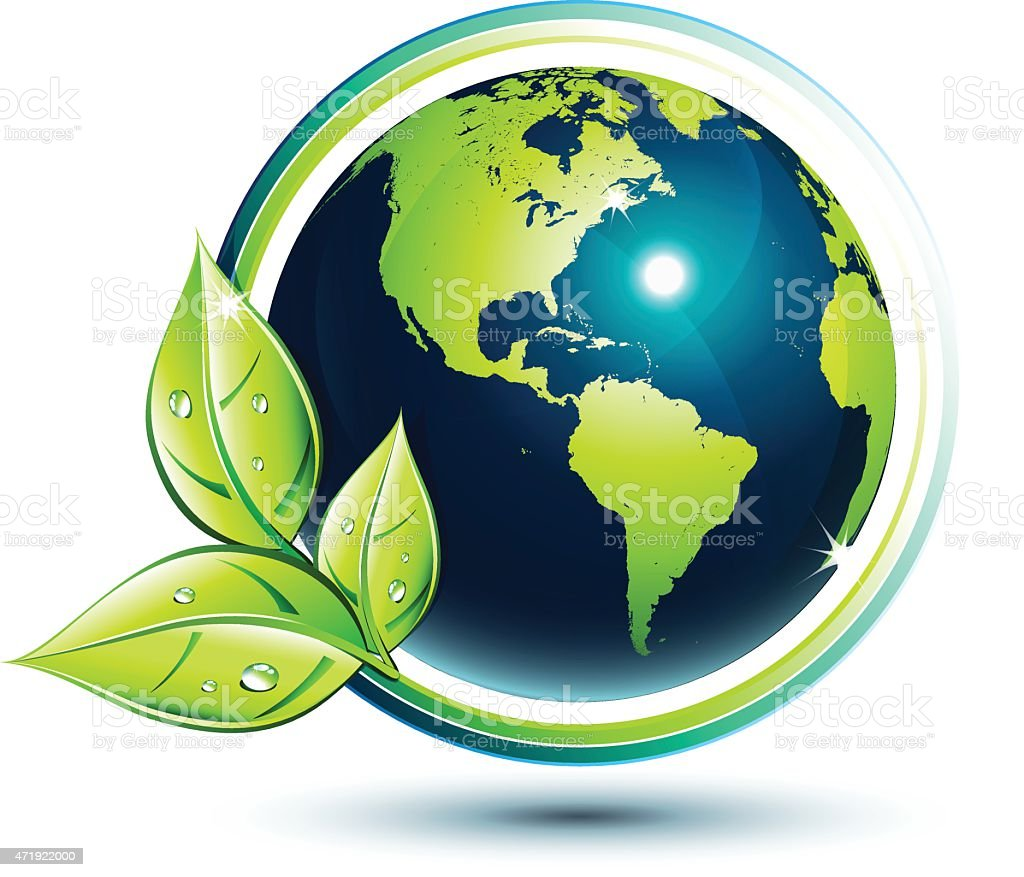 America green earth - eco-friendly and environment concept vector art illustration